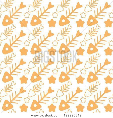 Fish Bone Seamless Pattern Abstract Ornament Flat Vector Illustration
