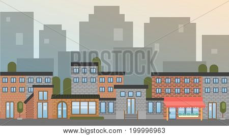 City Building Houses Town View Silhouette Skyline Background Flat Vector Illustration