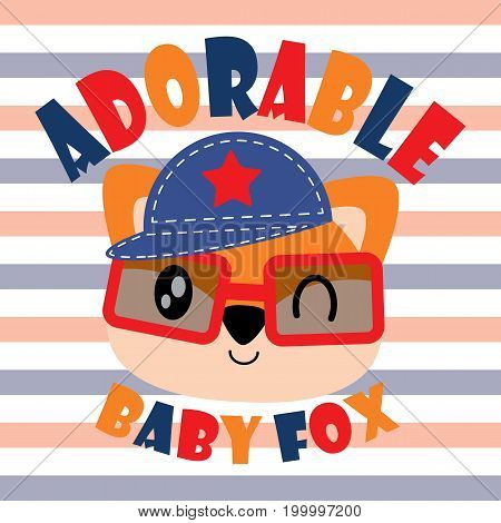 Cute adorable baby fox vector cartoon illustration for kid t shirt design, kid nursery wall and graphic wallpaper
