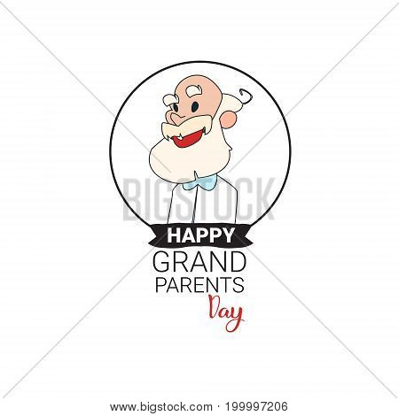 Happy Grandparents Day Greeting Card Banner Text Over White Background Vector Illustration