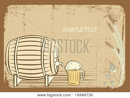 Beer Keg And Glass.vector Grunge Background For Text