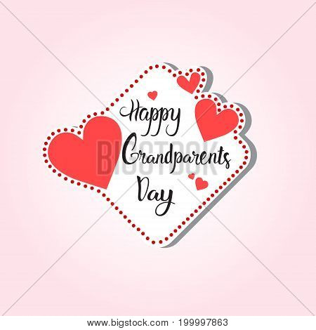 Happy Grandparents Day Greeting Card Sticker Colorful Over Pink Background Vector Illustration