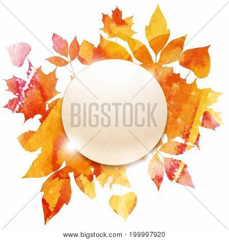 Golden autumn, sample button, leaves of bouquet, handmade painted, template object for you project, abstract vector design art