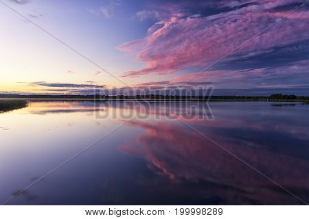Travel Concepts and Ideas. Belarussian National Park Braslav Lakes at Sunset during Summertime.Horizontal Image Composition