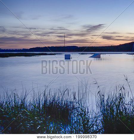 National Belarussian Braslav Lake At Sunset.Vertical Image Composition