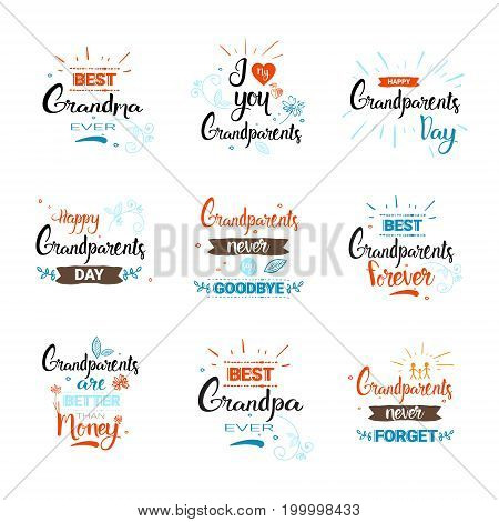 Happy Grandparents Day Greeting Card Banners Set Text Over White Background Vector Illustration