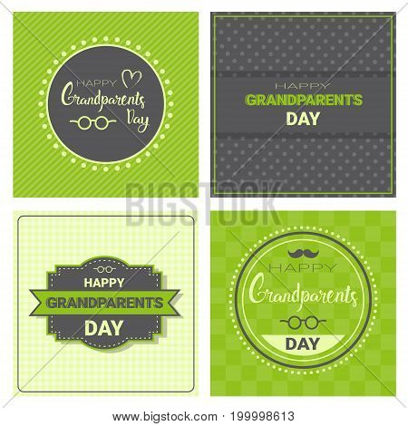Happy Grandparents Day Greeting Card Banners Set Vector Illustration