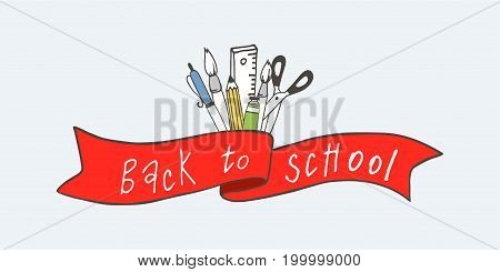 Ribbon with text Back to school and school items