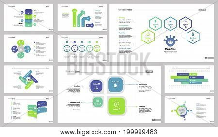 Infographic design set can be used for workflow layout, diagram, annual report, presentation, web design. Business and research concept with process, bar and percentage charts.