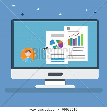 Flat computer with personal information and business static vector.Office computer with information on screen and sparkle on background