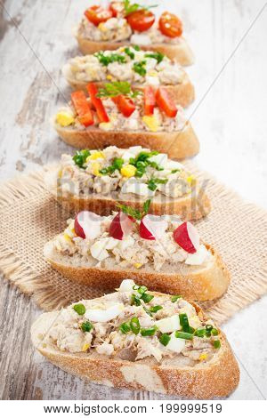 Crusty Sandwiches With Mackerel Or Tuna Fish Paste, Healthy Nutrition