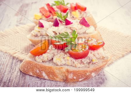 Vintage Photo, Crusty Sandwiches Or Baguette With Mackerel Or Tuna Fish Paste, Healthy Nutrition