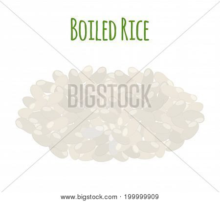 Rice, vegetarian food. Boiled rice seeds. Made in cartoon flat style. Vector illustration