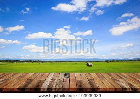 Empty top of old wooden table white rice fields in thailand.