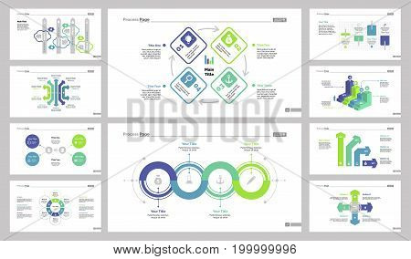 Infographic design set can be used for workflow layout, diagram, annual report, presentation, web design. Business and teamwork concept with process, bar, flow and percentage charts.