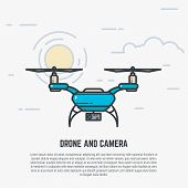 Quadcopter flying in sky. Drone with camera. Flat style line modern vector illustration with retro colors. poster