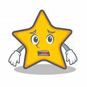 Afraid star character cartoon style vector illustration poster