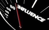 Influence Power Influential Speedometer Measure Results 3d Illustration poster