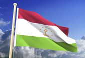 High resolution 3D Tajikistan flag (with clipping path) poster