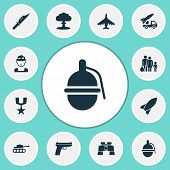 Warfare Icons Set. Collection Of Ordnance, Glass, Bombshell And Other Elements poster