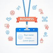Business Management Concept with Id Card Thin lines outline web icons Identification Badge Security Office Access for adwertizing. Vector illustration poster