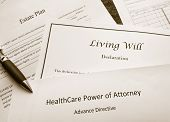 Estate Plan Living Will and Healthcare Power of Attorney documents poster
