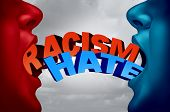 Racism and hate social issue as two racist people in a hate filled argument with text as a society current affair metaphor and symbol for racist intolerance for ethnic minorities with 3D illustration elements. poster