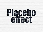 Medicine concept: Painted black text Placebo Effect on White Brick wall background poster