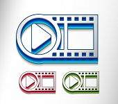 3d glossy video play icon includes 3 color versions. poster