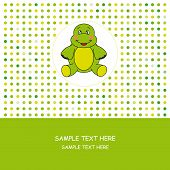 Birthday greeting card. Green card with a turtle. poster
