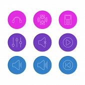 Editable Pack Of Stabilizer, Mp3, Amplifier And Other Elements.  Vector Illustration Of 9 Melody Icons. poster