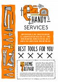 House repair tool and carpentry equipment sketch poster template. Hammer, pliers, paint brush, trowel, axe, tape measure, jack plane and vice, hand tool banner for hardware store and DIY themes design poster