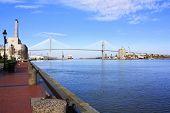 Eugene Talmadge Memorial Bridge over the Savannah River in Savannah GA. poster