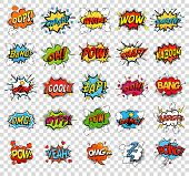 Comic speech bubbles or sound replicas for kaboom explosion, crash and wham, oops and oh, pow and boom bomb, snap and z-z-z, omg and angry argh. Onomatopoeia and exclamation theme poster