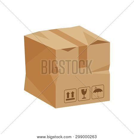 Damaged Crate Boxes 3d, Broken Cardboard Box Brown, Flat Style Cardboard Parcel Boxes, Packaging Car