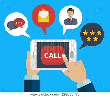 Business Customer Care Service Concept. Icons Set Of Contact Us, Support, Help, Phone Call And Websi