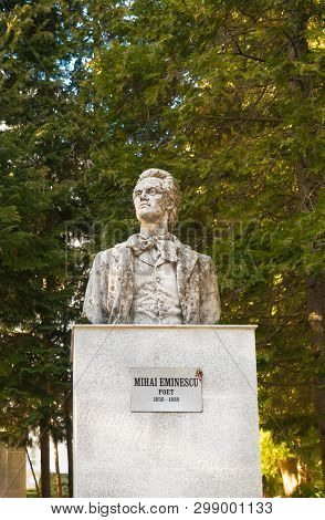 Sinaia, Romania - March 09, 2019:  Mihai Eminescu Statue, The Greatest Romanian Poet.