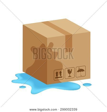 Damaged Wet Crate Boxes 3d, Broken Cardboard Box Wet, Flat Style Cardboard Parcel Boxes, Packaging C