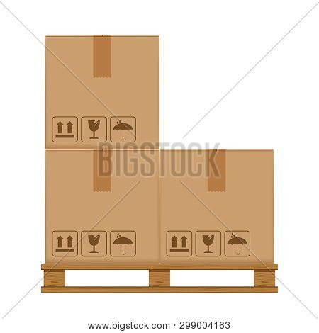 Crate Boxes Three On Wooded Pallet, Wood Pallet With Cardboard Box In Factory Warehouse Storage, Fla