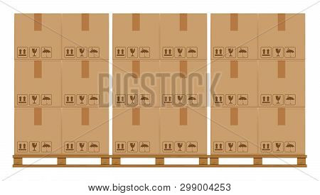 Crate Boxes On Wooded Pallet, Wood Pallet With Cardboard Box In Factory Warehouse Storage, Flat Styl