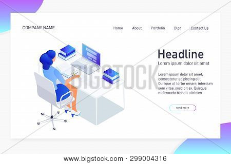 Concept Of Web Site Main Page, Landing Page With Isometry. Isometric Concept Of Studying Using Lapto