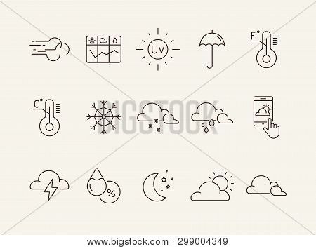 Meteorology icon set. Cloud, forecast, snow. Climate concept. Can be used for topics like temperature, weather, precipitation poster