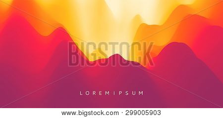Mountain Landscape With A Dawn. Sunset. Mountainous Terrain. Hills Silhouette. Abstract Background.