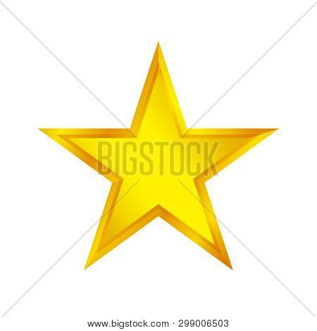 Gold Star Shape Isolated On White Background, Golden Star Icon, Gold Star Logo, Image Of Golden Star