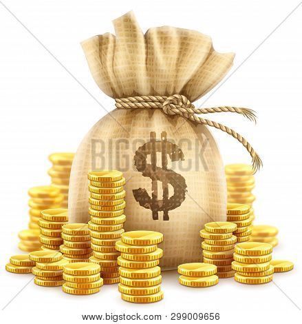 Full Sack Of Cash Money Corded With Rope And Heaps Of Gold Coins. Banking Concept Realistic Icon Of