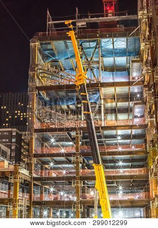 Building Construction Site With Crane At Night Time - Sendai, Miyagi, Japan