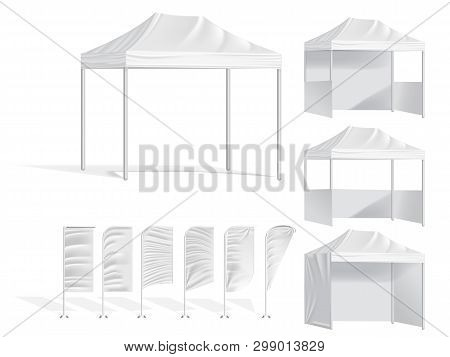 Promotional Outdoor Mobile Tents With Textile Feather Flag. Mock Up Blank Template Of Canopy From Su