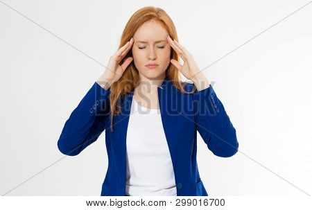 Cute, Young Beautiful Red Hair Woman Do Facepalm. Redhead Suffer Girl Headache Failed To Upset Busin