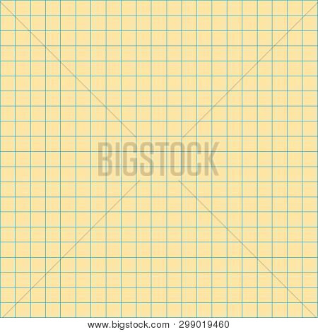 Grid Square Graph Line Full Page On Yellow Paper Background, Paper Grid Square Graph Line Texture Of