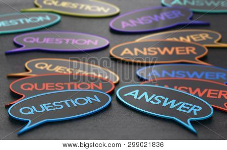 Speech Bubbles With The Words Question And Answer. Concept Of Discussion Forum Or Customer Support.